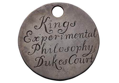 Token for Kings Experimental Philosophy lecture mid eighteenth century. Copyright Foundling Museum London
