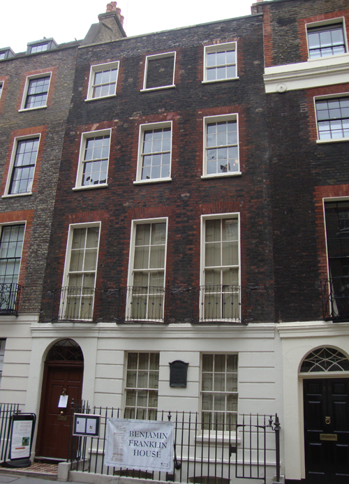Franklin's London home in Craven Street, W1. Today open to the public.